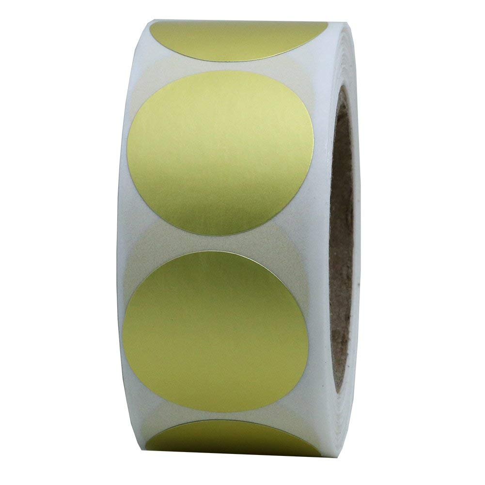 """Hybsk Gold Labels 1"""" Round Color Coding Dots Stickers Adhesive Label 500 Per Roll"""
