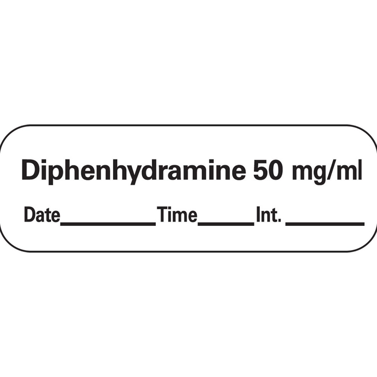 PDC Healthcare AN-210D50 Anesthesia Tape with Date, Time and Initial, Removable, Diphenhydramine 50 mg/mL, 1'' Core, 1/2'' x 500'', Imprints White 333 (Pack of 1)