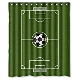 KXMDXA Custom Soccer Ground Field Shower Curtain Waterproof Polyester Bathroom 60 x 72 inch
