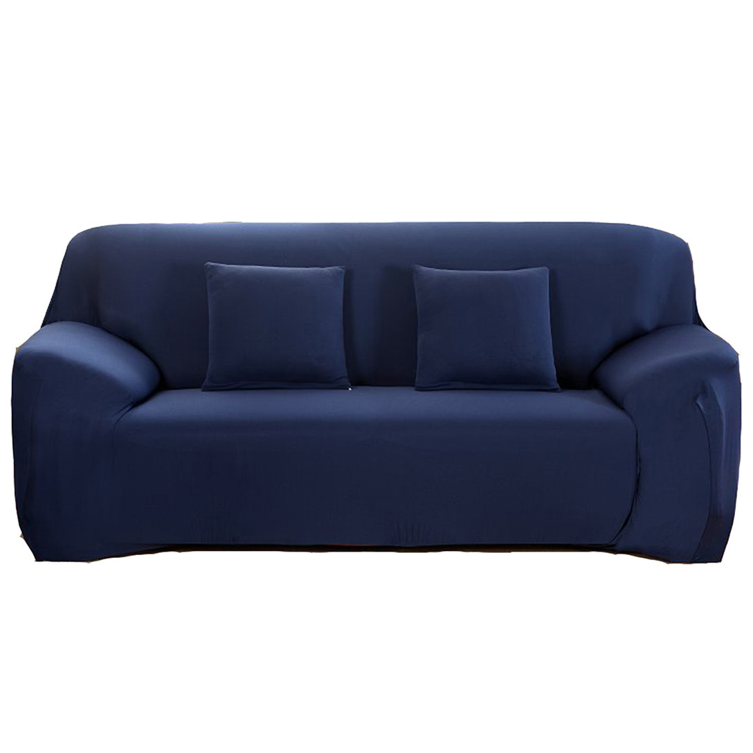 ANJUREN Polyester Spandex Fabric 1-Piece Stretch Slipcover For Chair Loveseat Sofa Without Pillow (Love seat, Navy blue)