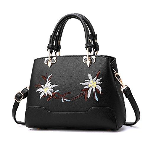 Sacs Sacs Body Main Cross Mode Cuir En Messenger Black Trend PU Ladies KYOKIM à Brodéépaule Bag SgOd6xSqwW