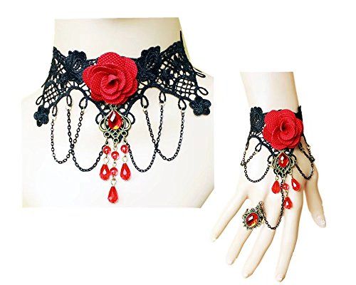 Bead Flower Necklace (Lefinis Red Flower Rose Beads Popular Girl Gothic Lolita Black Lace Collar Choker Necklace Bracelet)