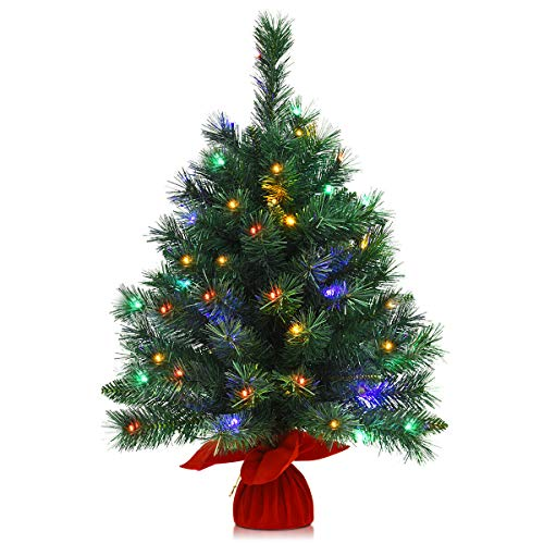 Goplus 26in Tabletop Christmas Tree, with 35 LED Lights/ 4 Colors/ 8 Flash Modes, Battery Operated (Color Christmas Tree)