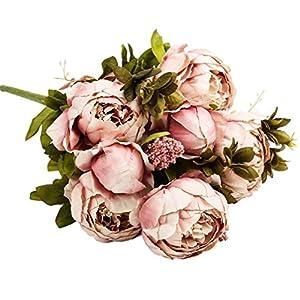 DMZ 1 Bunch of 13 Vintage Artificial Peony Silk Flowers Bouquet for Decoration Orange 13
