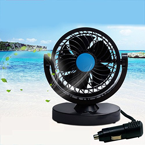 Anpress 12V Car Mini Electric Fan 360 Rotating Strong Wind Car Fan Car Air Conditioner Low Noise Portable Auto Air Cooling Fan
