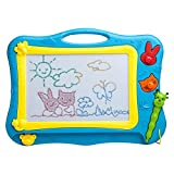 Buyus [Mini Size] Colour Magnetic Drawing Board for Kids/Children/Toddlers/Babies/Adults/Girls/Boys/Travel with 2 Shapes Stamps and 1 Pen - Retail Box - Also Named Magic Magical Doodle/Scribble/Writing/Draft/Sketcher Tablet Pad (Blue / Yellow)
