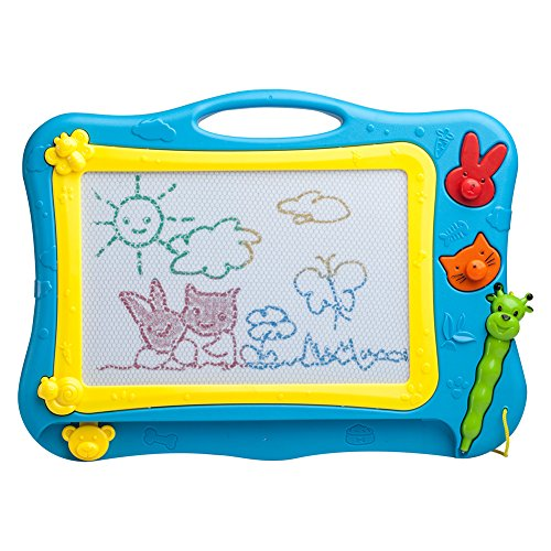 ikidsislands IKS77B Travel Size Color Magnetic Drawing Board for Kids Doodle Board for Toddlers Sketch Pad Toy for Little Boys Blue