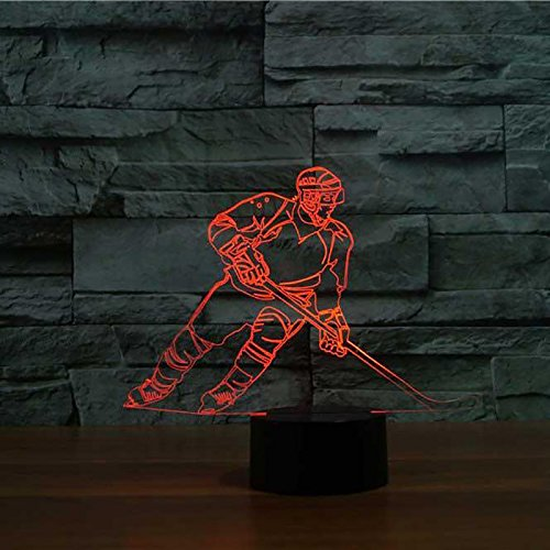 3D Ice Hockey Player Night Light USB Touch Switch Decor Animal Lamp Table Desk Optical Illusion Lamps 7 Color Changing Lights LED Table Lamp Home Love Brithday Children Kids Toy Gift