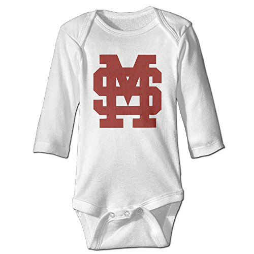 Price comparison product image OOKOO Baby's Mississippi University Bulldogs Bodysuits White 18 Months