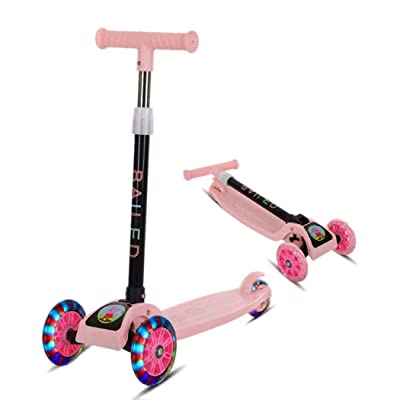 Mandii Children Folding Kick Scooters 4 Adjustable Height 3 Wheels Scooter with Flash Light Sliding Lean to Steer Scooter for Kids 3-6 Years Old Girls Boys Toddlers : Sports & Outdoors