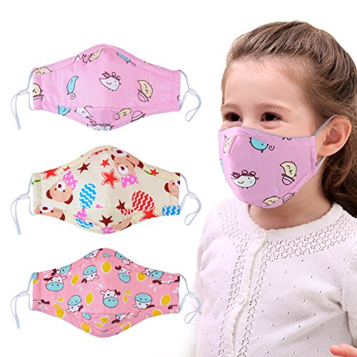 Dust Mask for Kids,Aniwon 3 Pcs PM2.5 Kids Mouth Face Mask with 6 Pcs Activated Carbon Filter Insert,Washable Cute Cotton Mouth Mask with Adjustable Straps -