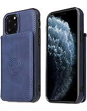 Molg Hoesje voor iphone 12 Mini PU-Leer Magnetische Portemonnee [Kaarthouder] [Magnetische Sluiting] met Autohouder Shock Proof Beschermhoesje-Blauw