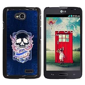 GOODTHINGS Funda Imagen Diseño Carcasa Tapa Trasera Negro Cover Skin Case para LG Optimus L70 / LS620 / D325 / MS323 - alas del cráneo púrpura de neón azul púrpura