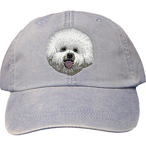 Bichon Frise Cap Baseball - Cherrybrook Dog Breed Embroidered Adams Cotton Twill Caps - Periwinkle - Bichon Frise