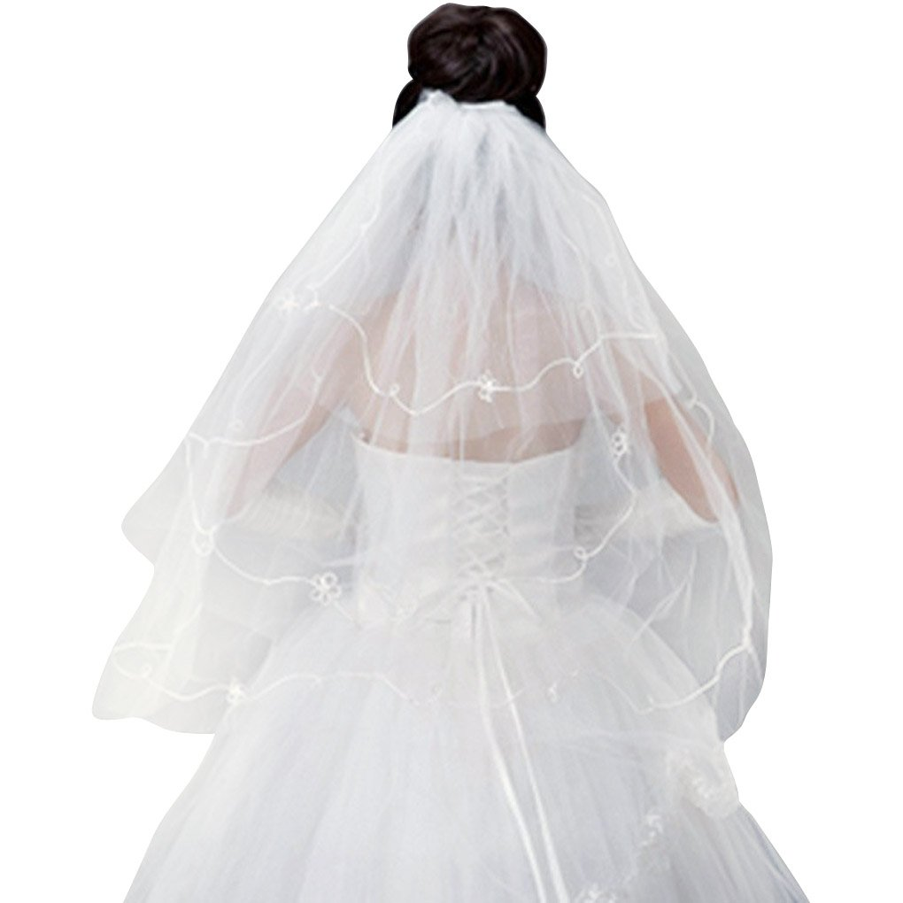 FakeFace 1.5m Kathedrale Brautschleier Stickerei Braut Hochzeit Schleier Tüll Spitze Kante Brautkleid Schärpe Deko, kurz, weiß beige