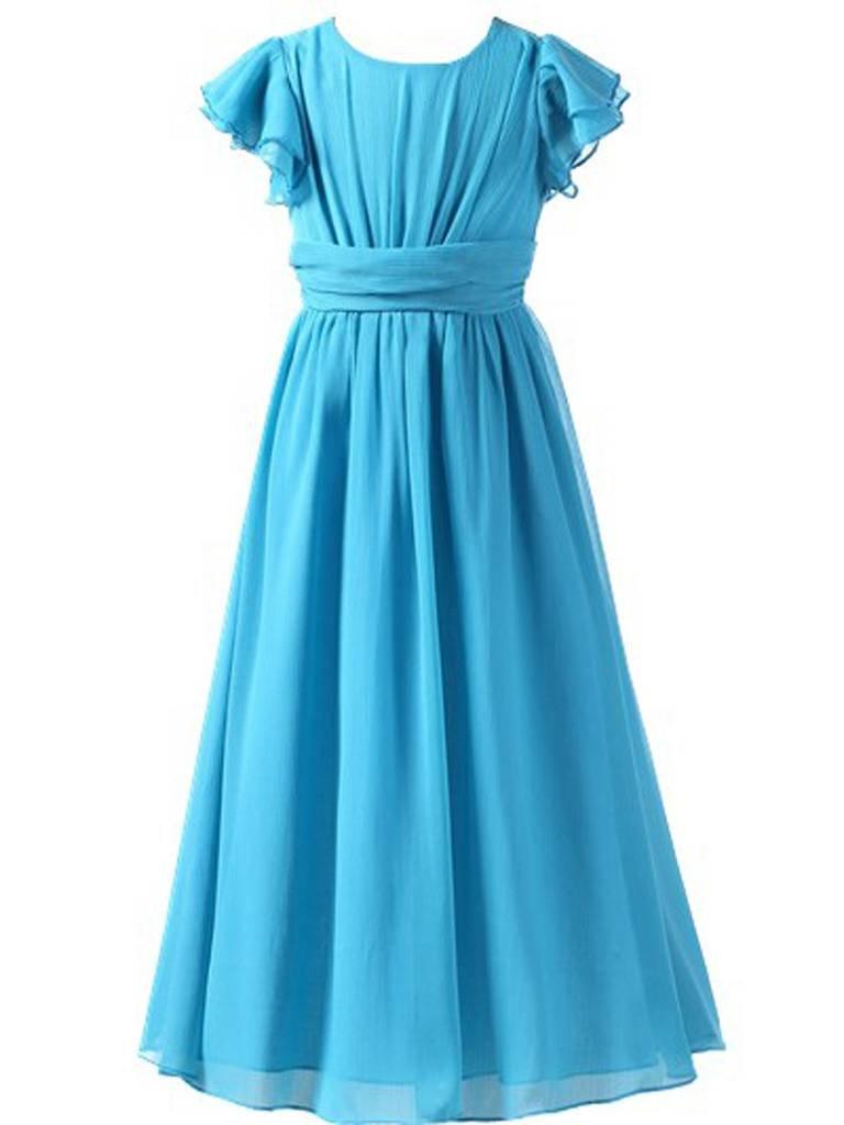 Happy Rose Flower Girl's Dress Prom Party Bridesmaid Dress Long Aqua Blue 12