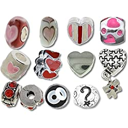 Heart Beads and Charms for Pandora Charm Bracelets Funny Valentine Hearts