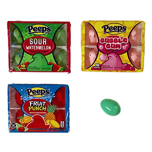 Peeps Marshmallow Chicks Variety Pack of 3 Boxes:10 Peeps Ea of Cotton Candy, Fruit Punch,and Bubble Gum Sour Watermelon