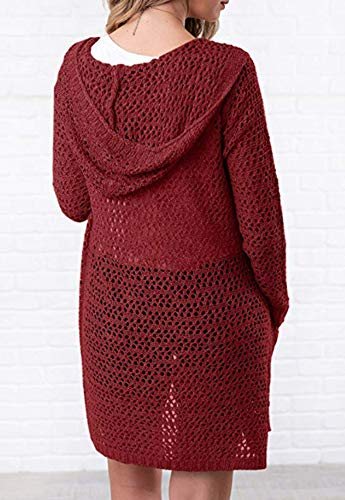Eleter Women's Cardigan Sweater Open Front Hollow Out Crochet Knitted Hooded Coat Pockets(S,Wine Red) by Eleter (Image #1)