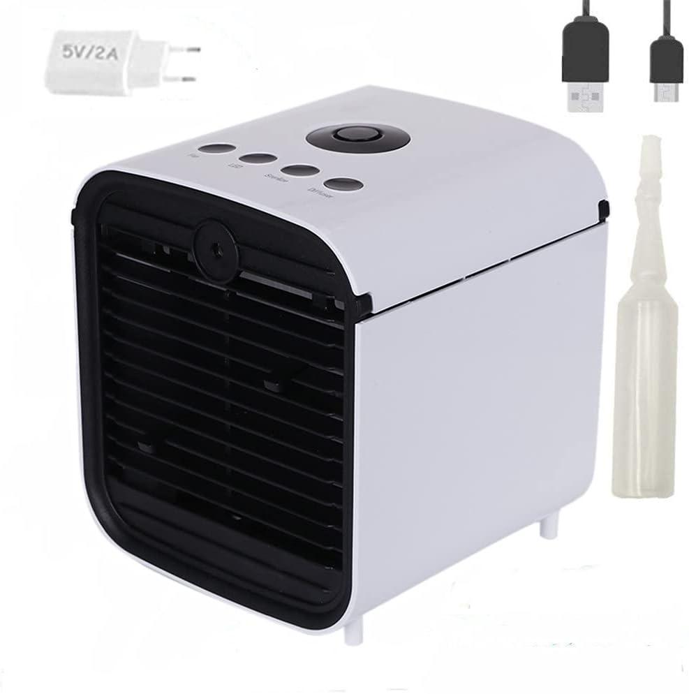 Mobile klimager/äte USB mini luftk/ühler mit wassertank Luftbefeuchter und Luftreiniger 7 LED-Leuchten f/ür Zuhause und B/üro GHONLZIN Mini Air Cooler 4 in 1 Klimaanlage