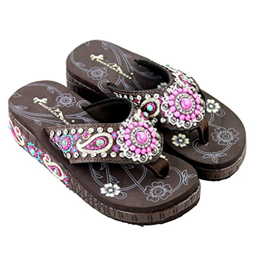 Montana West Flip Flop Sandals Hand Beaded Embroidered Studded (8B(M), Cf Paisley Bling)