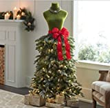 5' FT DRESS FORM MANNEQUIN GREEN WITH RED BOW CHRISTMAS HOLIDAY PRELIT TREE STORE FRONT COMMERCIAL QUALITY