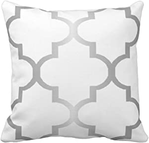 Emvency Throw Pillow Cover Moroccan Silver Large Quatrefoil Choose Geometric Decorative Pillow Case Home Decor Square 20 x 20 Inch Pillowcase