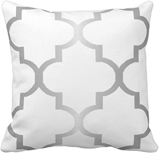 Dark Grey and White Decorative Cushion Covers Throw Pillow Case Moroccan Quatrefoil Pattern Print Square Two Sides 16X16 Inch