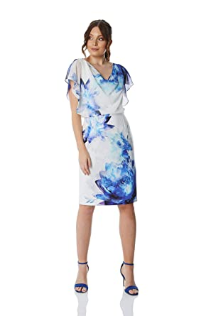cc11eaa27d8b Roman Originals Chiffon Overlay Scuba Dress - Ladies V-Neck Cowl Neck  Special Occasion Event Party Wedding Guest Mother of The Bridge Race Day Floral  Dress: ...