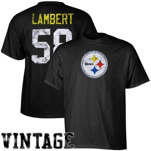 Pittsburgh Steelers Jack Lambert Reebok Throwback Name and Number Distressed T Shirt (Large) (Jack Lambert Throwback Jersey compare prices)