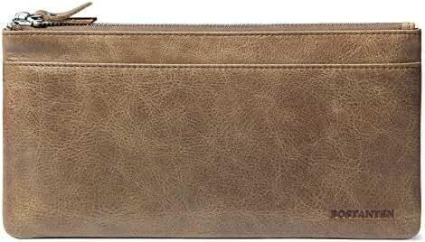 BOSTANTEN Cow Leather Long Wallet Cash Card Holder Clutch Handbag for Men
