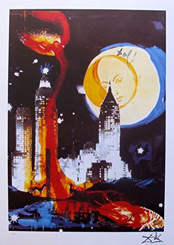 Signed Lithographs Dali (Wall Art by Salvador Dali Manhattan Skyline Limited Edition Facsimile Signed Lithograph Print. After the Original Painting or Drawing. Measures 27 1/2 Inches X 19 3/4 Inches)