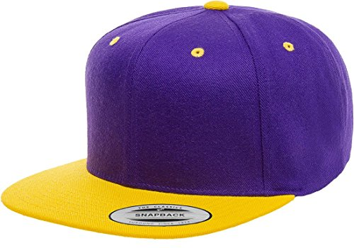 Gold Wool Classic Hat - Flexfit/Yupoong Premium Classic Snapback Hat | Flat Brim, Wool Blend, Adjustable Ballcap (Purple/Gold)