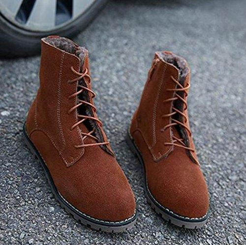 colore pizzo stivali Donna 35 in tacco APRICOT pizzo di doposci scarpe NSXZ puri 37 piatti basso stivali Martin Stivali qFIIw6