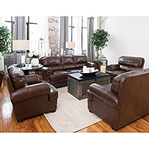 Elements Fine Home Charleston 4 Piece Top Grain Leather Sofa Collection With