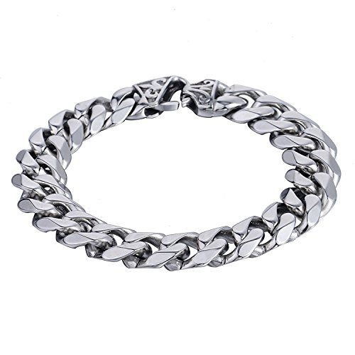 Trendsmax Mens Boys Chain Cut Cuban Curb Polished Link 316L Stainless Steel Bracelet 9inch - Polished Link Chain Bracelet