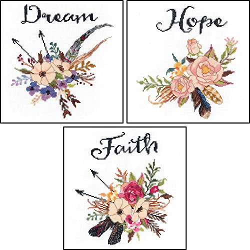 Janlynn Watercolor Flowers Counted Cross Stitch Kits - 3 Ite