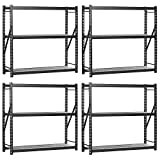 Muscle Rack ERZ601872W-3 Welded Storage Rack with 3 Shelves, 4500 lb Capacity, 60'' Width x 72'' Height x 18'' Depth, Black (Pack of 4)