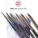 #8: Professional Watercolor Brushes for Gouache, Watercolors, Fluid Acrylics and Inks - Round, Pointed, Long-Lasting Squirrel and Synthetic Blend, Short Handle, 6-pcs Set, Black Tulip Collection by ZenArt