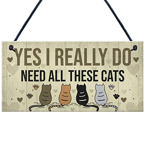 Cat Plaque - Mikilon YES I Really DO Need All These CAT Plaque Wooden Hanging Plaque Wall Door Decorative Sign Hanger Home Decoration Photo Props Favors (Beige)