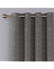 Deconovo UK DE Blackout Curtains with Foil Printed Diamond Patterns