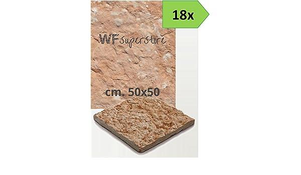 Suelo exterior de piedra rústico 50 x 50 - 12 baldosas de jardín: Amazon.es: Jardín