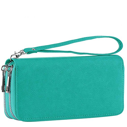 XeYOU Double Zipper Around Long Clutch Wallet Card Holder Purse with Coin Pocket for Cash, Coin, Card and Smart Phone (Green with Wristlet Strap) ()