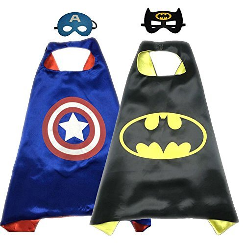 Superhero Costume Super Hero Cape And Mask Dress Up 2 Set For Kids (Captain America-Batman) ()