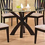 coaster home furnishings 101071 casual dining table base deep merlot finish glass not included - Kitchen Glass Table
