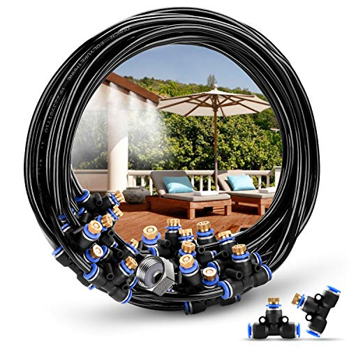 - HOMENOTE Outdoor Misting Cooling System 75.46FT (23M) Misting Line 34 Brass Mist Nozzles a 3/4
