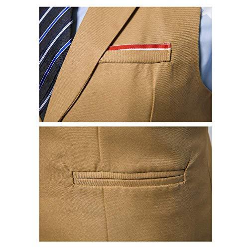 Automne Business Pour Xdljl Slim Hommes Suit Et Sans Boutonnage Manches Kaki Simple Printemps Vest Gilet SSx8q0