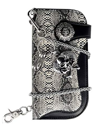 ABC STORY Mens Leather Long Concho Snake Skull Trucker Biker Snap Wallet with Chain Black -