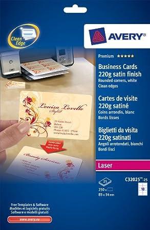 Avery Quick Clean Visitenkarten Doppelseitig Bedruckbar Für Laserdrucker Mit Abgerundeten Ecken