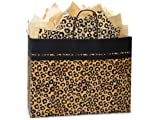 Pack Of 250, Vogue 16 x 6 x 12.5'' Leopard Safari Recycled Kraft Paper Shopping Bag Made In Usa
